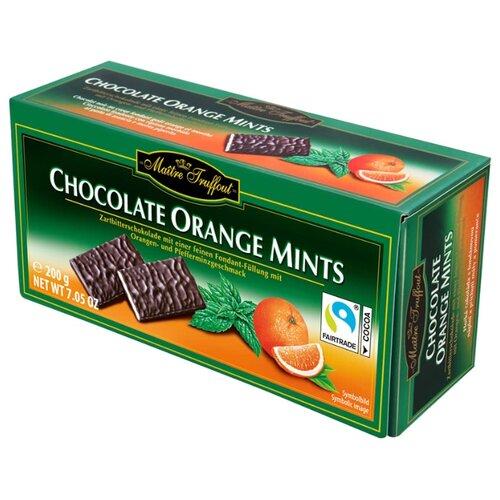 Шоколад Maitre Truffout темный с мятной начинкой и апельсиновым вкусом, порционный, 200 г недорого