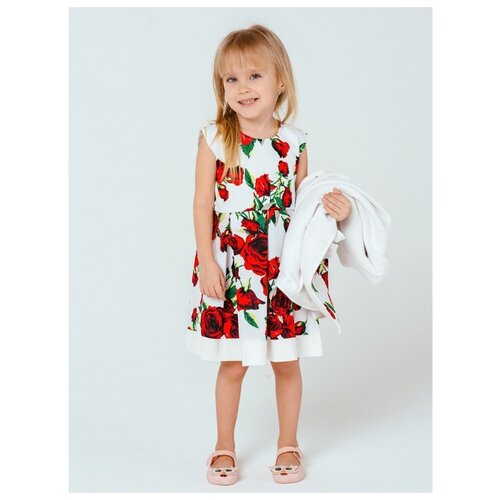 Платье Дашенька размер 92, красные розы на молочном