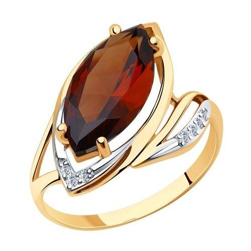 Diamant Кольцо из золота с ситалом синтетическим и фианитами 51-310-00890-1, размер 18 diamant кольцо из золота с топазом и фианитами 51 310 00292 1 размер 18