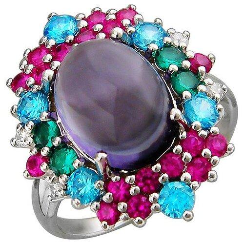 Эстет Кольцо с россыпью цветных и драгоценных камней из серебра Г11К251106MIX, размер 17 ЭСТЕТ