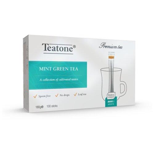 Чай зеленый Teatone с мятой в стиках, 100 шт. earl grey чёрный чай с ароматом бергамота teatone в стиках для разовой заварки 100шт 1 8г
