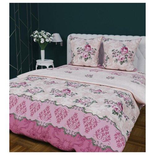 Постельное белье 2-спальное с евро простыней Текстильная лавка Букетики бязь, 70 х 70 см розовый