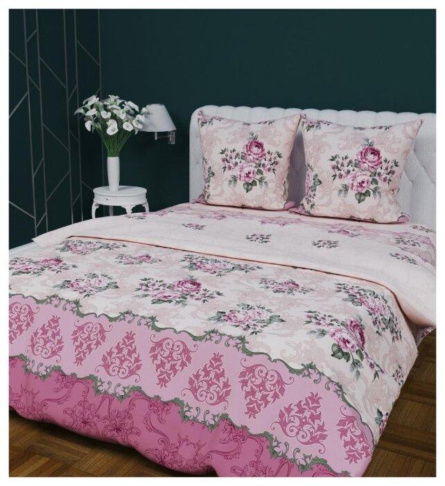 Постельное белье 2-спальное с евро простыней Текстильная лавка Букетики 70 x 70 бязь розовый