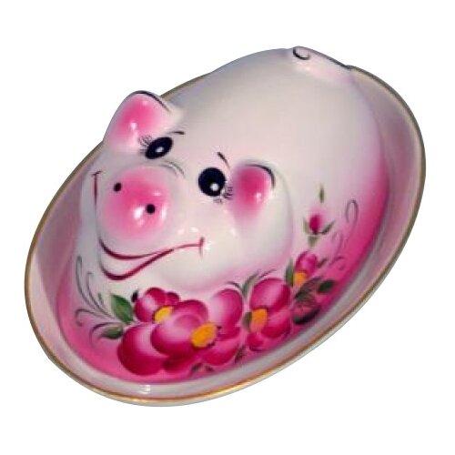 Добрушский фарфоровый завод Блюдо Поросенок (Дося) 21.5 см розовый