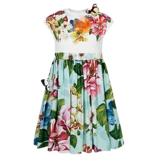Платье DOLCE & GABBANA размер 104, белый/цветочный принт/красный/голубой