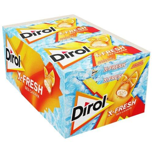 Жевательная резинка Dirol Cadbury X-Fresh Ледяной мандарин, без сахара, 12 шт.*16 г вита актив жевательная резинка грейпфрут 16 г без сахара