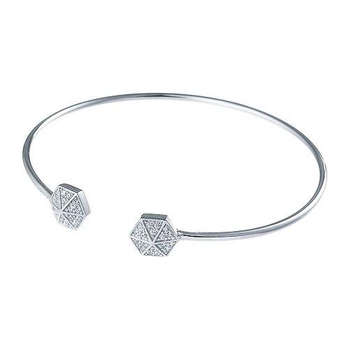 JV Браслет с фианитами из серебра CBB021B-001-WG, 18 см, 5.13 г element47 браслет из серебра 925 пробы с фианитами sb a0009 001 wg 18 см