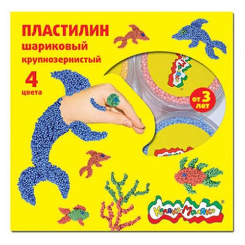 Шариковый пластилин Каляка-Маляка крупнозернистый 4 цвета (ПШККМ04)Пластилин и масса для лепки<br>