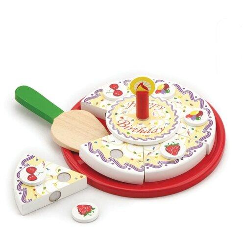Купить Набор продуктов с посудой Viga Режем торт 58499 разноцветный, Игрушечная еда и посуда