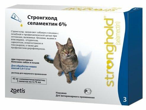 Zoetis (Pfizer) Капли от блох, клещей и гельминтов Стронгхолд 45 мг для кошек массой 2,6-7,5 кг