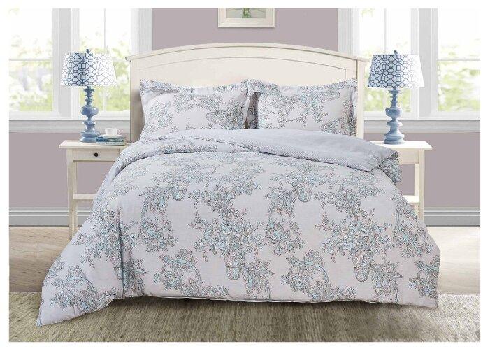 Постельное белье 1.5-спальное Selena Paisley Нежность, сатин серый