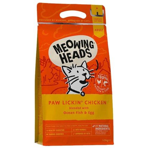 Сухой корм для кошек Meowing Heads для вывода шерсти, с курицей, с рисом, с яйцом 1.5 кг