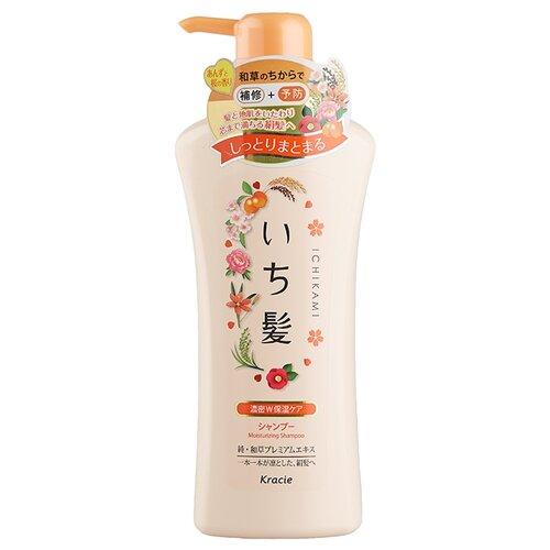 Kracie шампунь Ichikami увлажняющий для поврежденных волос с маслом абрикоса 480 мл с дозатором