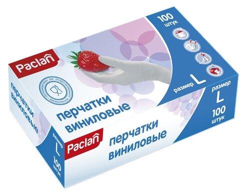 Перчатки Paclan виниловые неопудренные, 50 пар, размер M, цвет белый