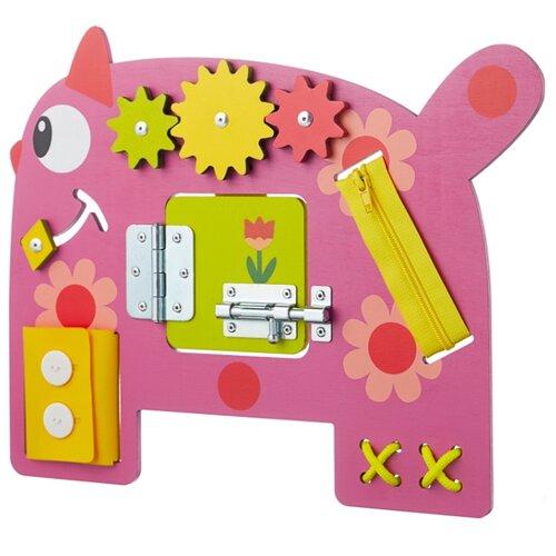 Бизиборд Занятный дом Деревяшки Кошечка Мяу розовый