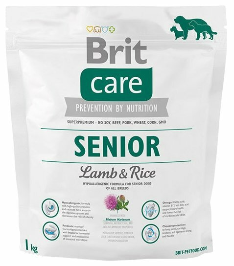Корм для пожилых собак Brit Care ягненок с рисом