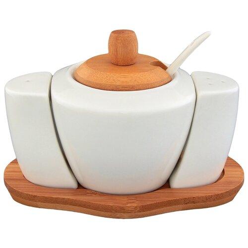 Elan gallery Сахарница и набор для специй Айсберг белый/коричневый elan gallery набор тарелок для закуски белый узор 20 5 см 2 шт 540157 белый