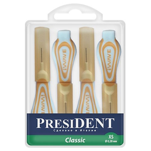 Зубной ершик PresiDENT Classic XS, желтый, 4 шт.Зубные щетки<br>