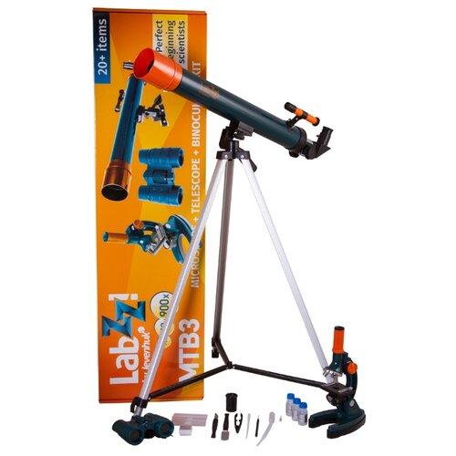 Телескоп + микроскоп LEVENHUK LabZZ MTВ3 синий/оранжевый/черный eastcolight микроскоп mp 450 телескоп 20351 26167