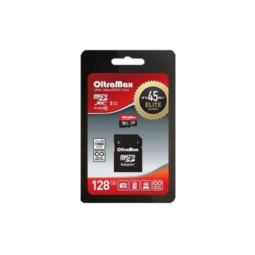 Фото - Карта памяти OltraMax microSDXC Class 10 UHS-1 45MB/s + SD adapter 128 GB, чтение: 45 MB/s, адаптер на SD карта памяти samsung 128 gb microsdxc class 10 uhs i evo mb mc 128 ga ru