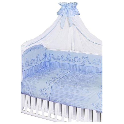 Купить Золотой Гусь комплект Зая-Зай (7 предметов) голубой, Постельное белье и комплекты