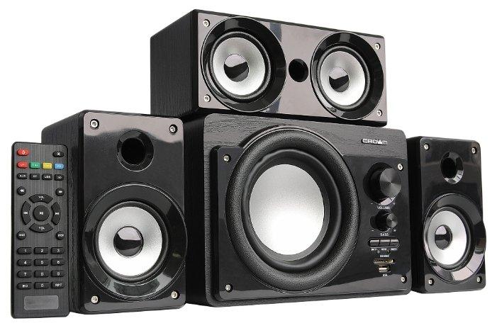 Crown Акустическая система 3.1 CMBS-390 МДФ, Bluetooth, 15W+8W 3 39W; приёмник FM; картридер; интерфейс USB; IR пульт, дополнительная фронтальная колонка