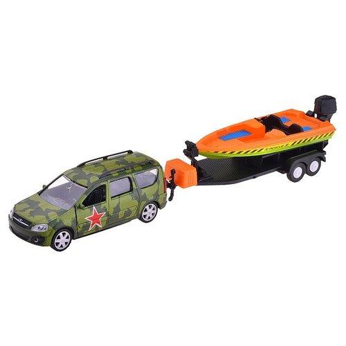 Легковой автомобиль Autogrand Lada Largus с катером армейская (49524) 1:38 зеленый/оранжевый фото
