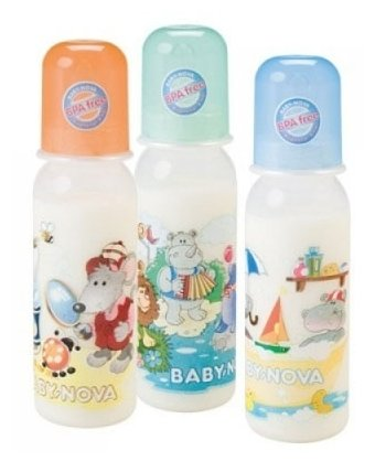 Baby Nova Бутылочки полипропиленовые, 250 мл с рисунком, 3 шт. с рождения