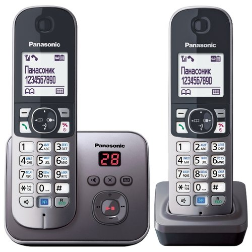 Купить Радиотелефон Panasonic KX-TG6822 серый металлик