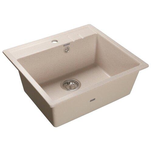 Фото - Врезная кухонная мойка 55.8 см GranFest Quadro GF-Q560 белый мойка кухонная granfest quadro gf q560 серая из искусственного мрамора с сифоном 55 8х49 8 см