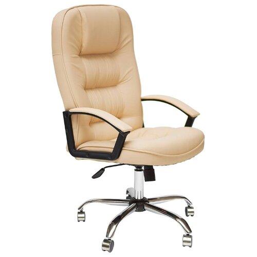 Компьютерное кресло TetChair CH 9944 хром, обивка: искусственная кожа, цвет: бежевый кресло компьютерное tetchair оксфорд oxford доступные цвета обивки искусств корич кожа искусств корич перфор кожа