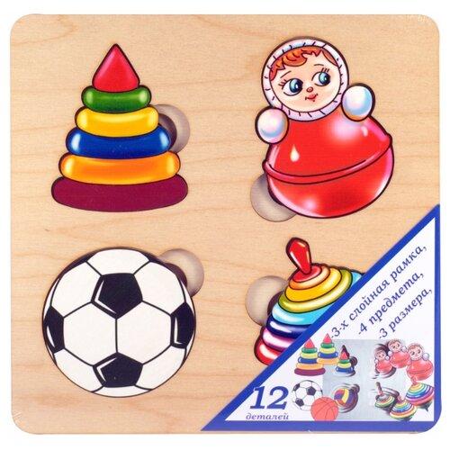 Купить Рамка-вкладыш Нескучные игры Больше-меньше Игрушки (7910), 12 дет., Пазлы