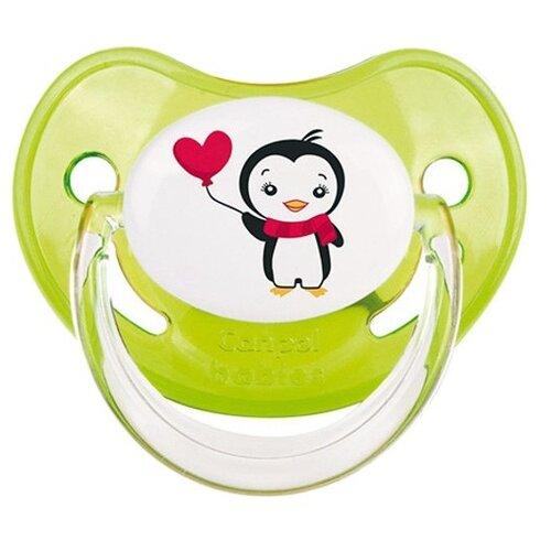 Купить Пустышка силиконовая ортодонтическая Canpol Babies Penguin 6-18 м (1 шт) зеленый, Пустышки и аксессуары