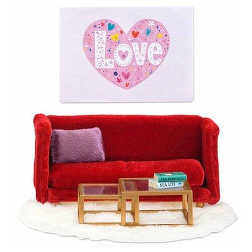 Купить Lundby Набор мебели для гостиной Смоланд (LB_60208100) красный/белый, Мебель для кукол