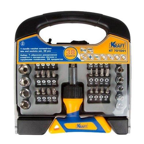 Набор бит и торцевых головок KRAFT (38 предм.) KT 701041 набор головок kraft кт700318 торцевых и принадлежностей 1 2 dr 12пр