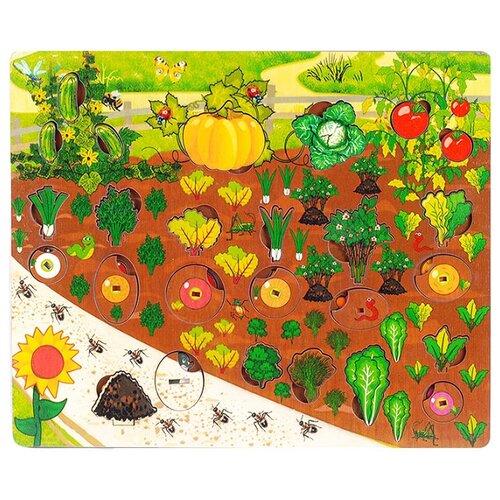Рамка-вкладыш Нескучные игры Овощи на грядке (7907), 34 дет. рамка вкладыш нескучные игры больше меньше геометрия