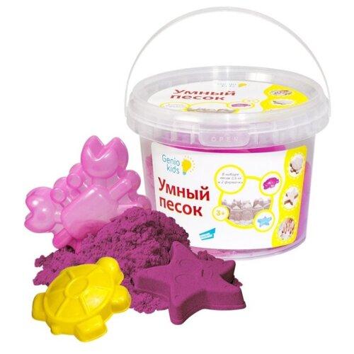 цена Кинетический песок Genio Kids Умный с формочками, розовый, 0.5 кг, пластиковый контейнер онлайн в 2017 году