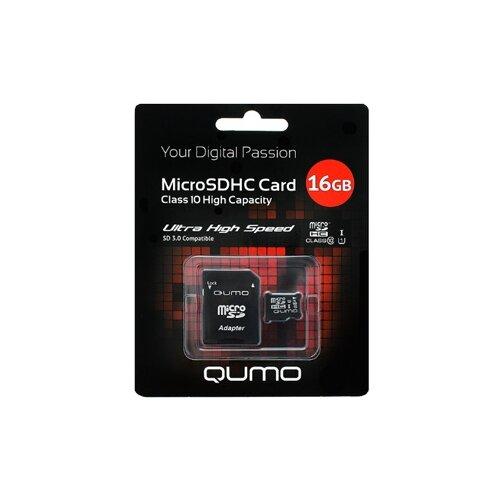 Фото - Карта памяти Qumo microSDHC class 10 UHS-I U1 16 GB, чтение: 90 MB/s, адаптер на SD карта памяти pioneer microsd class 10 uhs i u1 16 gb чтение 70 mb s адаптер на sd