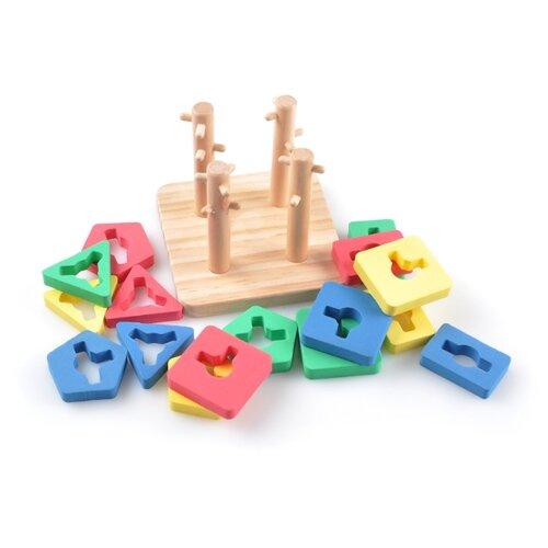 Пирамидка-сортер Мир деревянных игрушек Логическай квадрат малый