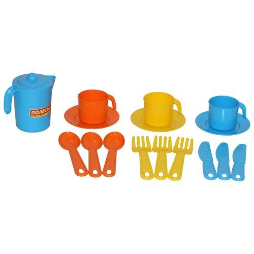 Набор посуды Полесье Анюта на 3 персоны 3834 голубой/желтый/оранжевый, Игрушечная еда и посуда  - купить со скидкой