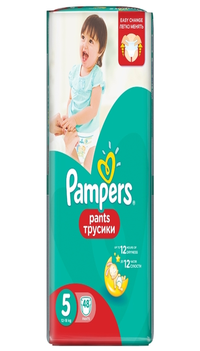 a4e5b0e86ecf Купить Pampers трусики Pants 5 (12-18 кг) 48 шт. по выгодной цене на ...
