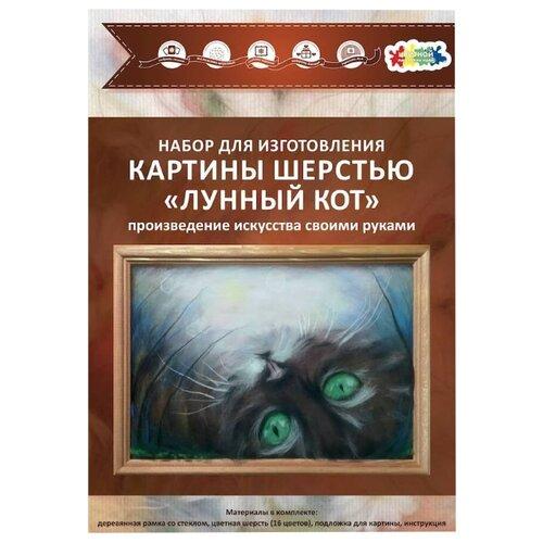 Цветной Картина шерстью Лунный кот 20х30 см (SH041)Валяние<br>