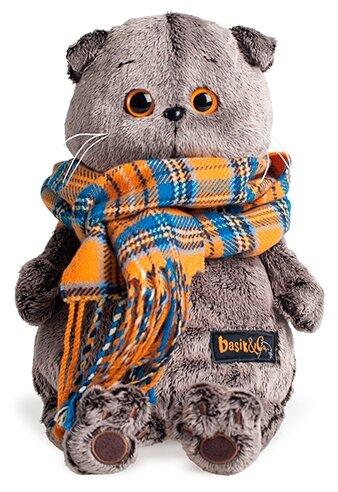 Мягкая игрушка Basik&Co Кот Басик в оранжевом клетчатом шарфе 19 см
