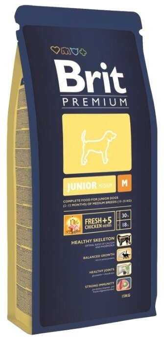 Корм для щенков Brit Premium курица 15 кг (для средних пород)