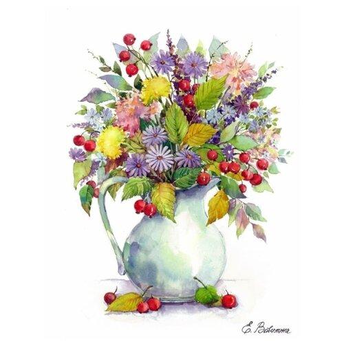 Цветной Набор алмазной вышивки Букет с одуванчиками и ягодами (LG024) 40х50 см