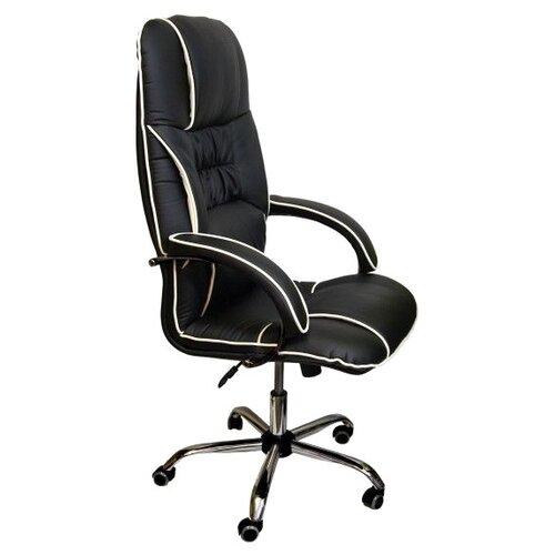 Компьютерное кресло Креслов Бридж КВ-14-131112 для руководителя, обивка: искусственная кожа, цвет: черный/молочный