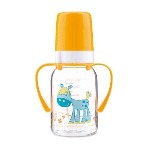 Купить Canpol Babies Бутылочка тритановая с ручками 120 мл Забавные животные с 3 мес., желтый, Бутылочки и ниблеры