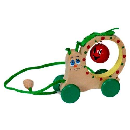 Каталка-игрушка Крона Улитка-бубенчик (213-043) бежевый/зеленый недорого