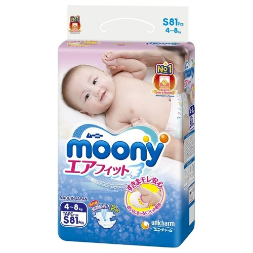 Moony подгузники S (4-8 кг) 81 шт.Подгузники<br>