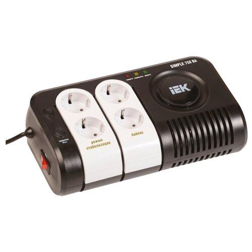 Стабилизатор напряжения однофазный IEK Simple 0.75 кВа черный/белый